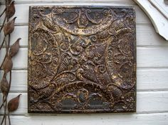 Ceiling Tin Tile. FRAMED antique tin 2'x2'.  by DriveInService