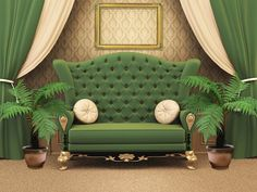 Gorgeous Plants For Decoration Home Idea Set On Brown Carpet Beside Green King Sofa As Well Brown Wallpaper Living Room And White Green Curtain In The Nearby Beautiful Plants for Decorating Home with Beauty of Nature Home decoration