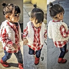 Plaid, fur, and little red boots! adorable