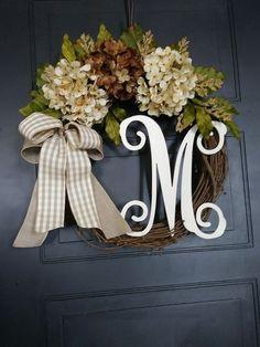 Year Round Wreath for Front Door – Farmhouse Wreath – All Season Hydrangea Wreath with Monogram – Housewarming Gift – Initial Wreath – Gift – Wreath For Front Door İdeas. Wreaths For Front Door, Door Wreaths, Grapevine Wreath, Deco Mesh Wreaths, Fall Wreaths, Initial Wreath, Door Monogram, Year Round Wreath, Workout Exercises