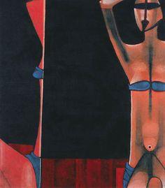Jerzy Nowosielski | Dziewczyna w kostiumie kąpielowym z lustrem, 1976 | serigraph/paper