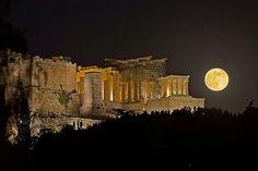 Alket Bibe - Google+ - Beautiful moon over Acropolis Athens Greece