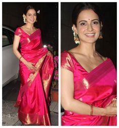 When it comes to just generally day to day slaying - Kangana Ranaut has got to be one of the few who is at the front of the pack. Did you know this leading lady has also worn some stunning indian outf. Indian Bridal Wear, Indian Wear, Indian Dresses, Indian Outfits, Saree Look, Red Saree, Moda Indiana, India Fashion, Style Fashion
