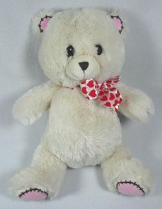 "Fiesta 13"" Plush Cream Teddy Bear Red Heart Valentine's Bow Stuffed Animal Toy #Fiesta #ValentinesDay"