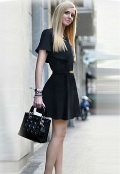 Fashion high Waist Belt Skinny Cape Dress Crewneck Casual Mini Skirt