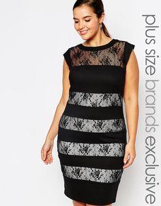 Image 1 ofPaper Dolls Plus Striped Lace Bodycon Dress