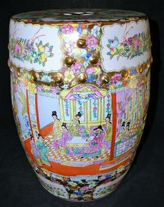 Oriental Hand Painted Porcelain Garden Seat - by Berner's Auction Gallery