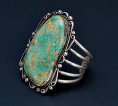 Huge+Green+Turquoise+Bracelet++60s/70s+Big+by+littlethingsvintage,+$895.00