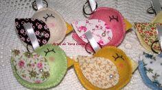 Chaveiros Passarinhos coloridinhos e fofinhos em feltro e tecido.