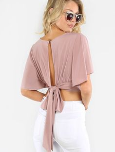 Online shopping for Flowy Crop Wrap Top MAUVE from a great selection of women's fashion clothing & more at MakeMeChic.Shop Tops in many colors and styles and check out our daily updated new arrival women's Tops & more at MakeMeChic. Cropped Tops, Blouse Patterns, Blouse Designs, Vetement Fashion, Wrap Shirt, Blouse Online, V Neck Tops, Fashion Dresses, Women's Fashion