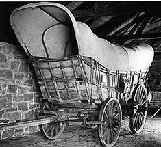 Conestoga Wagon~this is how pioneers crossed the praire/deserts/mountains- usually drawn by oxen( not horses) it was a bouncey, kidney bursting, hot, cold wet adventure west to find a new life....ms