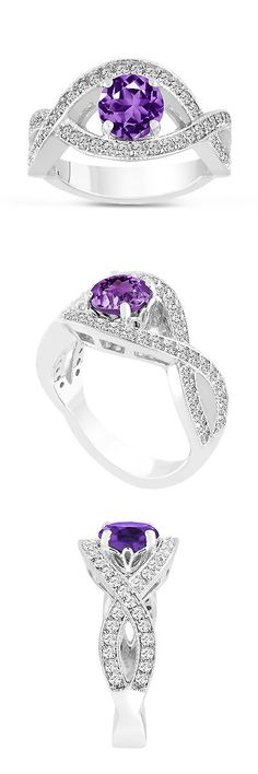 Gemstone 177020: 1.52 Carat Purple Amethyst Engagement Ring 14K White Gold Bridal Certified -> BUY IT NOW ONLY: $1402.5 on eBay!