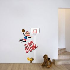 Basketball is one of the hottest games around, why not bring it into your kids room! The Paul Frank wall decal features Julius the Monkey slum dunking while his friend Clancy the Giraffe is staring at him in amusement on the small basketball court.$89.99