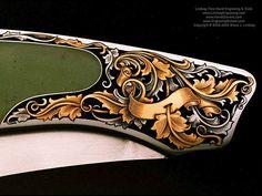Jack Busfield made knives engraved by Steve Lindsay