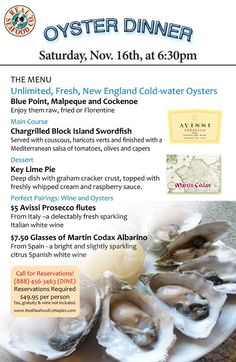 All You Can Eat Oyster Dinner Seafood Company, Blue Point, Block Island, All You Can, Prosecco, Naples, Oysters, New England, Canning