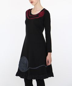 Black Organic Cotton Spiral A-Line Dress