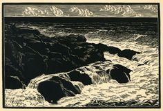 Leo Meissner(American, b.1895-1977)Ebb Tide  1931 wood engraving  via