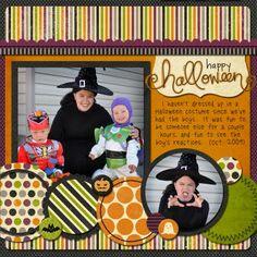 halloween scrapbook layout, Love all the patterned papers :) Scrapbooking Halloween, Scrapbooking Album, Scrapbook Sketches, Scrapbook Page Layouts, Scrapbook Paper Crafts, Scrapbook Templates, Scrapbook Designs, Scrapbook Albums, Digital Scrapbooking