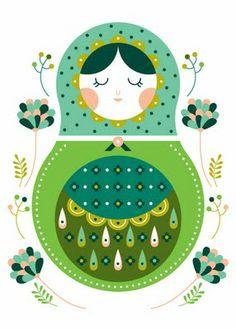 mamushka - would make a beautiful badge or embroidery Matryoshka Doll, Kokeshi Dolls, Bordado Popular, Russian Folk Art, Folk Embroidery, Thinking Day, Felt Crafts, Paper Dolls, Retro Vintage