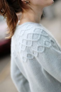 A seamless pullover with cabled yoke and cuff details. Round yoke construction with short-row shaping and sideways cable motifs. Worked in a worsted weight merino/angora blend - cozy! Ladies Cardigan Knitting Patterns, Lace Knitting, Knit Crochet, Knitting Ideas, Pullover Sweaters, Sweater Cardigan, Knit Sweaters, Brooklyn Tweed, Nordic Sweater