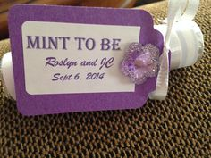 Bridal Shower favor.  Roll of mints wrapped in scrapbook paper.  Mint to Be!