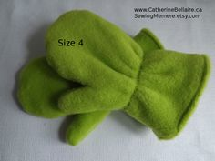 GREEN NEON Children's Mittens - Gloves - kids winter accessories - fleece mittens - $15.00 - Pin Now To Remember -  http://www.CatherineBellaire.ca/store https://www.etsy.com/shop/sewingmemere