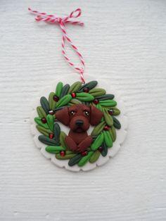 Labrador Retriever Christmas ornie by Raquel at the WRC hand sculpted polymer clay ORNAMENT Pet dog Lover