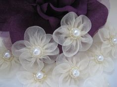Ivory organza flowers pearl appliques for girl dresses sewing crafting doll clothes doll shoes 1 5 inch 38 mm 12 pieces Organza Flowers, Tissue Paper Flowers, Cloth Flowers, Lace Flowers, Fabric Flowers, Diy Ribbon, Ribbon Work, Fabric Ribbon, Pearl Wedding Decorations