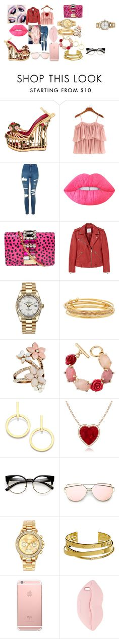 """""""pink twist"""" by fashionxqxeen on Polyvore featuring Dolce&Gabbana, WithChic, Topshop, Lime Crime, GEDEBE, MANGO, Rolex, Kate Spade, Accessorize and Oscar de la Renta"""