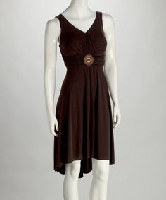 Take a look at this Brown Pendant Surplice Dress by Summer Soirée: Women's Dresses on #zulily today!