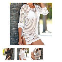 Estilo europeu das Senhoras Das mulheres verão respirável Net Escavar Beachwear Bikini Blusa blusas camisas Preto Branco(China (Mainland))