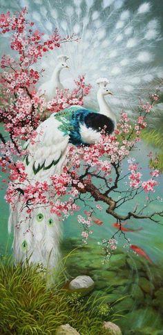 .tavus kuşları Peacock Wall Art, Peacock Painting, Peacock Decor, Peacock Images, Counted Cross Stitch Kits, Colorful Birds, Bird Art, Chinese Art, Beautiful Birds