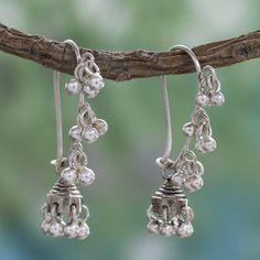 Music 925 Sterling Silver Jhumki Traditional Indian Chandelier Like Hippie Gypsy Bohemian Bells Womens Dangle Earrings (India)
