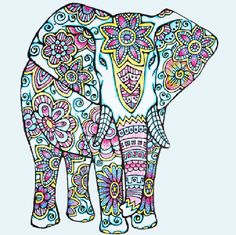 Adult Coloring Page:Original Hand Drawn Art in Black and White, Instant Digital Download Image of an Elephant Coloring fun for all ages!