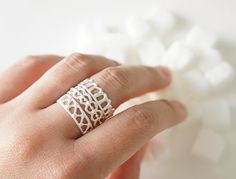 Ashum - Ayn - Hawa Silver Stackable Rings - Moroccan Sugar Collection - Handmade, sugar, delicate, geometric, white, organic