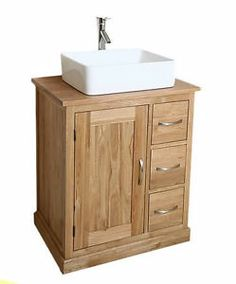 Solid Light Oak Bathroom Vanity Sinks Unit Cabinet Basin Suite Vanities MB507-D