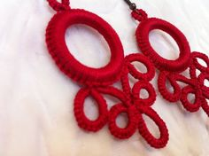 Tatted Earrings - in Red - .INSPIRATION