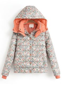 Orange Floral Band Collar Synthetic Fiber Padded Coat