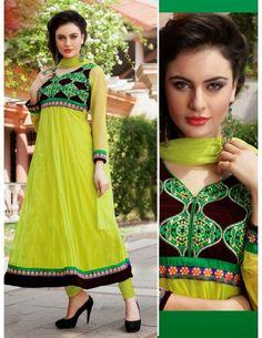 Buy Captivating Lemon Green Saree Online. http://www.bharatplaza.com/womens-wear/salwar-kameez/designer-suits.html