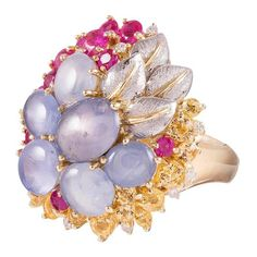 Star Sapphire Ruby Yellow Sapphire Diamond Gold Floral Bouquet Ring