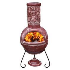 Large Espiral Mexican Clay Chimenea with Lid & Stand