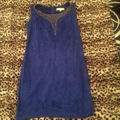 Pretty Suede Embellished Blue Dress