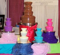 COLORED chocolate fountains!!!! match your color scheme! so cute ...