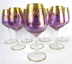 Vintage Romantic Purple Heart Stemware, Gold Trim, Set of Eight by Junquie on Etsy https://www.etsy.com/listing/216671646/vintage-romantic-purple-heart-stemware