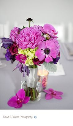 #Purple flower #weddingcenterpiece at #Prairie Productions, Chicago.
