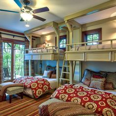 Queen beds with twin bunks overhead! The ultimate guest room. #home #design