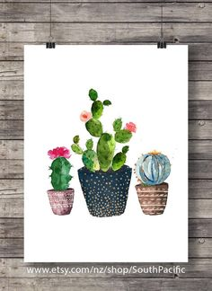 Cacti art print | Watercolor cactus | Hand painted watercolor cactus | cosy decor Printable wall art  16x20 print, easily reduced to 8x10.  MADE