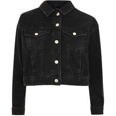 Topshop Petite Matilda Denim Jacket (59,115 KRW) ❤ liked on Polyvore featuring outerwear, jackets, washed black, retro jackets, retro denim jacket, denim jacket, petite denim jacket and topshop jackets