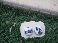 Musical Notes  Frabric Covered Button Earings 19cm by kraftychix, $5.50