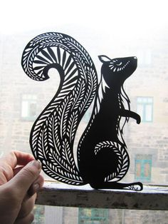 Image result for white paint on black canvas lace painted squirrel